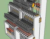 Compact wall mounted folding rack holds 48 woodworking clamps (Featured on BlueCollar Woodworking w/ Stumpy Nubs) DOWNLOADABLE PLANS