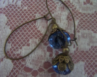 Blue Beauties, Blue Crystal and Bronze Earrings