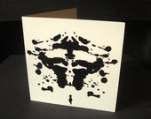 Unique Hand-Carved Inkblot Greeting Card