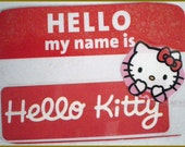 Hello Kitty Name Badge Magnet- laminated cartoon character magnet