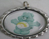 Care Bear Bottlecap necklace- Wish bear pendant with cord (choice of cord color)