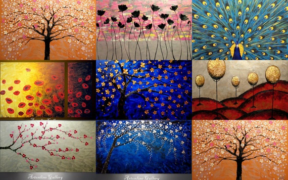 Original Oil Paintings - 8 ready for shipping  - palette knife, impasto, Christmas in July Sale