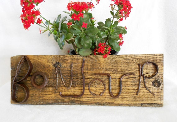 BONJOUR- Rustic Barnwood Sign with Found Metal Object Letters