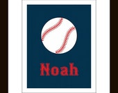 Personalized Baseball Print 8 x 10 Children's sports art