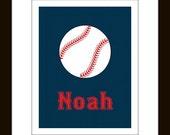 Personalized Baseball Print 8 x 10 Children's sports art