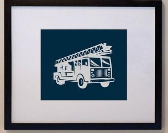 Children's Firetruck Print 11 x 14 Custom colors, nursery art,