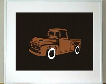 Personalized Children's Vintage  Truck Print 8 x 10.boy's nursery wall art