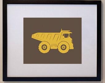 Construction Dump Truck Print Children 8 x 10 personalized for kids