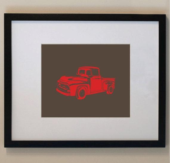 Children's Vintage Pick Up Truck Print 5 x 7 nursery print, wall art