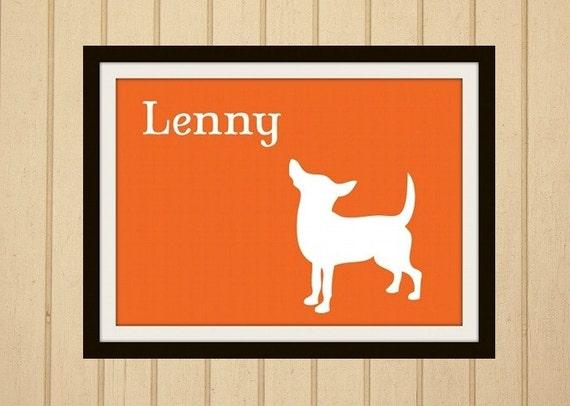 Personalized Chihuahua Art Dog Print Silhouette 8 x 10