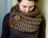Chunky Button Scarf - Taupe