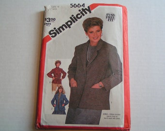 Vintage Simplicity 5664 Fuss Free Fit Miss Unlined Jacket
