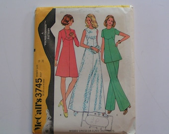 Vintage McCalls Pattern 3745 Misses Dress or Tunic Pants