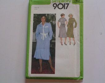 Vintage Simplicity Pattern 9017 Misses Shirtdress Tie Belt