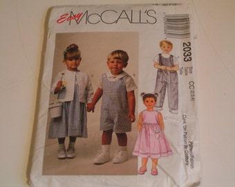 McCalls Pattern Easy 2033 Toodlers Rompers Dress Jacket Shirt