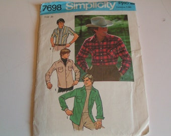 Vintage Simplicity Pattern 7698 Mens Shirt