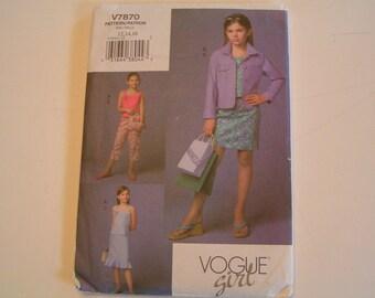 Vogue Girl Pattern V7870 Jacket Top Skirt Pants