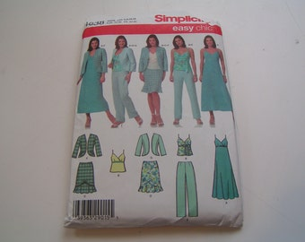 Simplicity Pattern 4638 Easy Chic Misses Petite Dress Top Skirt Pants Jacket
