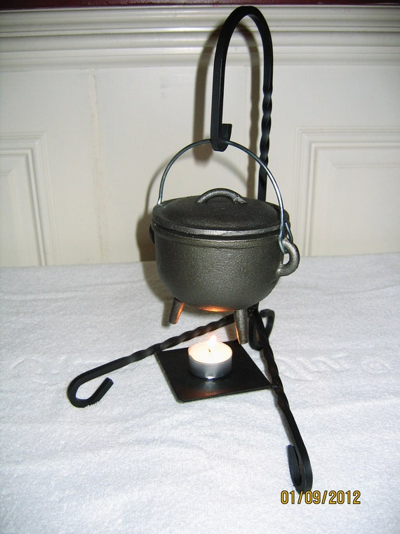 Medium cauldron and candle holder or stand - for pagan, wiccan, wicca, new age, witch, witchcraft or other use i.e, lantern