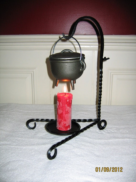 Large cauldron and candle holder or stand for pagan, wiccan, wicca, witch, witchcraft, etc. Also use for lanterns