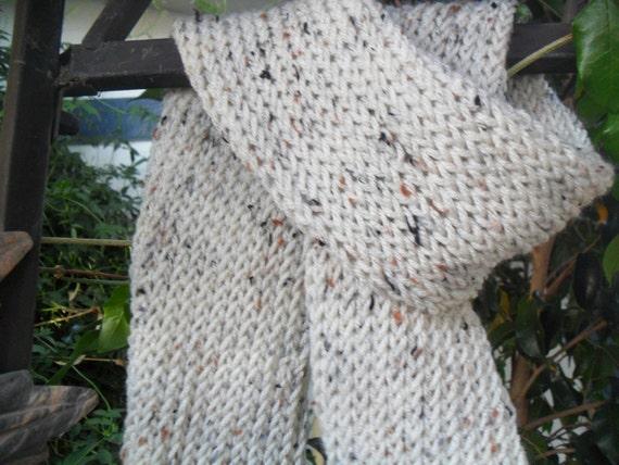 Handmade Knit Light Beige Scarf