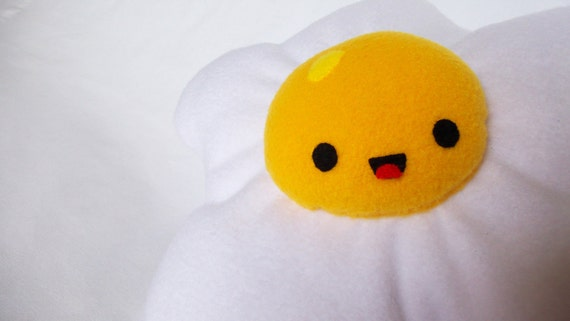 Eggbert the Lovable Fleece Plush Toy Fried Egg Amigurumi Friend Anime Kawaii for Children or Kids at Heart.  GREAT Gift!