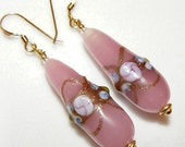 Pink Venetian Glass earrings on 14k gold filled french hooks