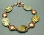 Red Creek Jasper and Textured Copper Bead Bracelet