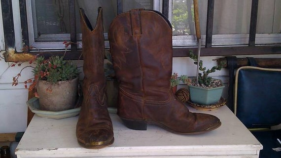 RESERVED for Emalina82  Vintage Durango Brown Distressed Leather Cowboy Boots Size 9M