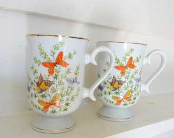 Pair Of  Vintage 1970s Mugs/Cups~Whimsical Butterfly Pattern