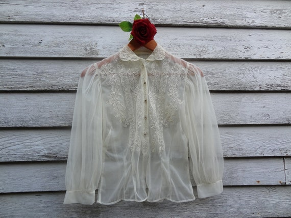 """Beautiful Cream Blouse With"""" Rhinestone"""" Buttons"""