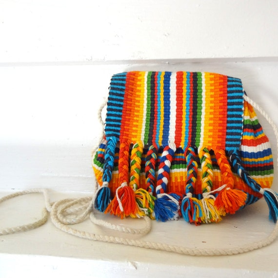 Bright Woven Global Tribal Print Boho Mini Purse