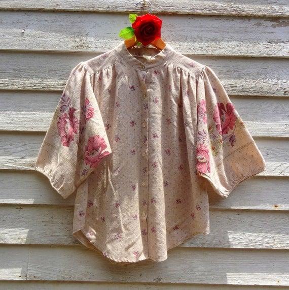 Vintage 1970s Cotton Hippie Bohemian Summer Blouse  LRG.