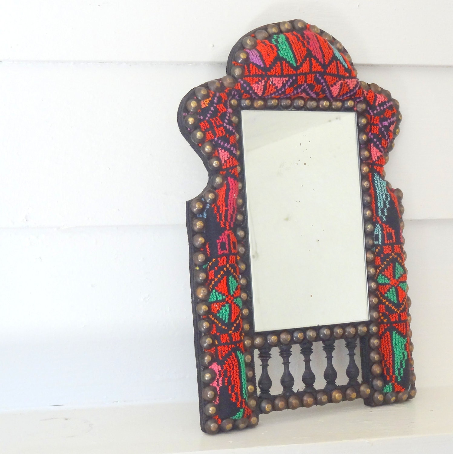 Vintage Fabric Covered Exotic Gypsy Mirror