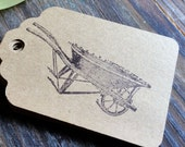 Wheelbarrow Garden Kraft Paper Gift Tags. 25 Count. Perfect for: Garden Party, Placecards, Garden Gifts,Wedding Gift Bags, Shower Favors