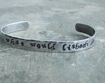 """Hand Stamped Aluminum Cuff Bracelet """"What Would Lisbeth Do"""""""