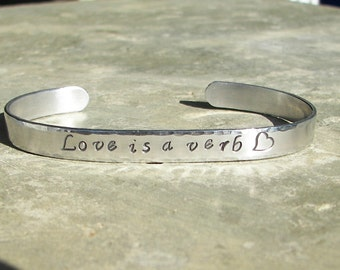 Hand Stampe Jewelry Love is a verb Cuff Bracelet With Heart Stamp