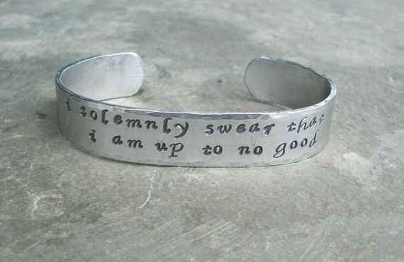 """Harry Potter Hand Stamped Bracelet """"I solemnly swear that I am up to no good"""" Aluminum Cuff"""