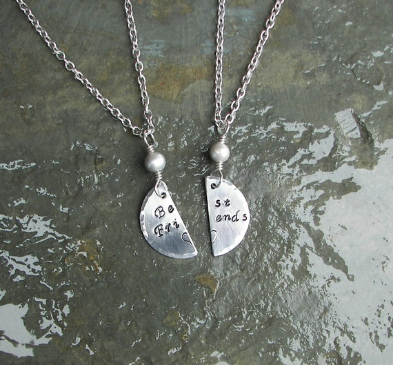 Hand Stamped BFF Necklace/ Anklet Set With Fresh Water Pearls.
