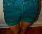 High Waisted Turquoise/Green Shorts