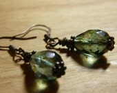 Antiqued Brass and Mossy Green Glass Earring