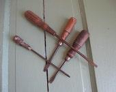Wood handle Flat Head Screwdriver Tools- Set of Four