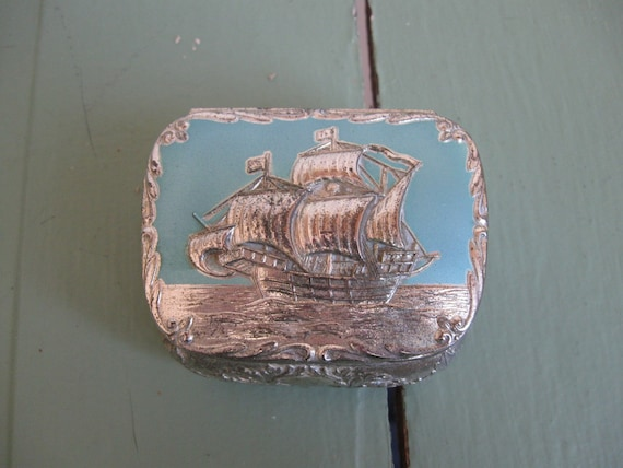 Vintage Silver Plated Cuff-Links Trinket Box with Nautical Ship