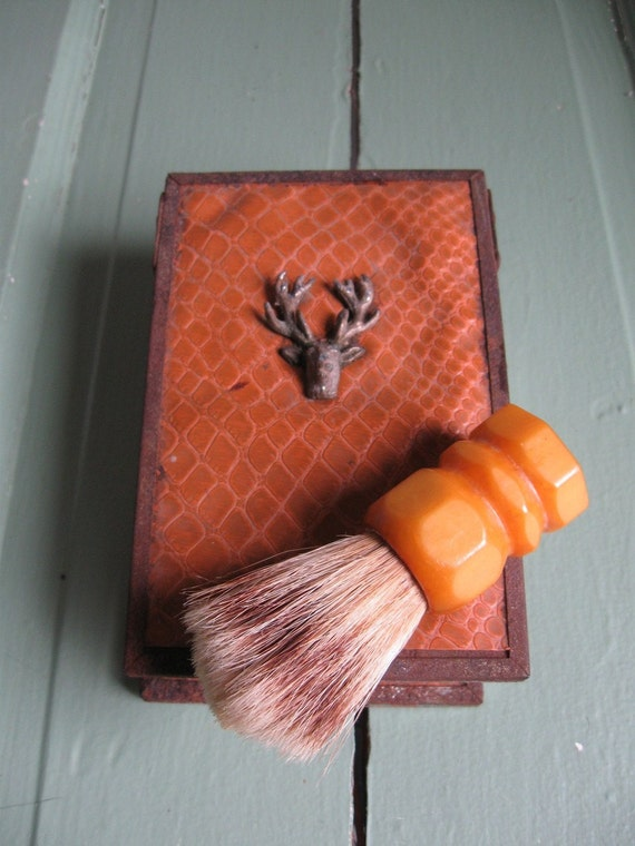 Vintage 1930s Shaving Kit with Brush and Dish Container- Deer and Faux Leather
