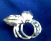 Unusal Pin in Gold Tone With Rhinstones