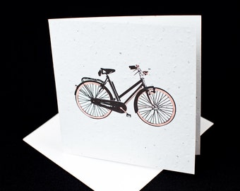 Woman's Bicycle / Eco-Friendly Plantable Seeded Card