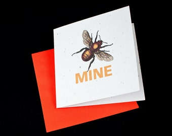 Be Mine Victorian Print of a Bumblebee / Eco-Friendly Plantable Seeded Card