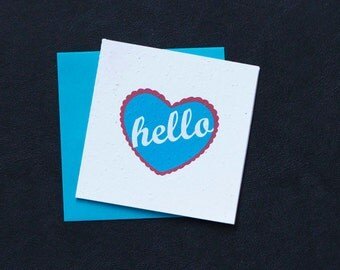 Hello. Greetings. Sweet and Simple in Turquoise. / Eco-Friendly Plantable Seeded Card