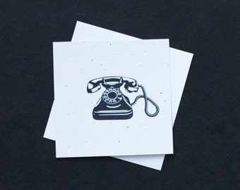 Retro Rotary Black Telephone / Eco-Friendly Plantable Seeded Card