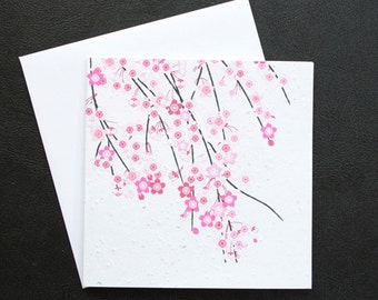 Cherry Blossoms / Eco-Friendly Plantable Seeded Card
